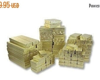 Halloween Stock Up Sale 100 Assorted Gold Foil Cotton Filled Jewelry Boxes