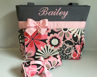 FLOWER Shower PiNK and Gray Floral ...   Diaper Bag and Changing Pad SET  ... Personalized FREE