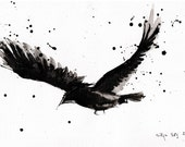 Ink drawing on canvas A4 (20x30cm) - Abstract flying bird painting - raven spread wings