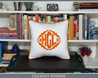 The Veronique Applique Monogrammed Pillow Cover - 16 x 16 square