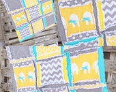 Elephant Crib Bedding Quilt-Girl RAG QUILT with Elephants-Chevron Baby Blanket-Mustard Yellow, Turquoise, and Gray, Made to Order