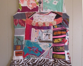 wild sea -  Fabric Collage Clothing Wearable Folk Art -Altered  -  Upcycled Recycled Patchwork Crazy Quilt - mybonny random scraps textile