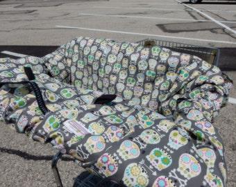 Shopping Cart cover  for boy or girl.....Bonehead Skulls in Gray