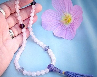 Rose Quartz Half Mala with Amethyst and Fluorite - Non Stretch 54 Bead Mala Prayer Beads