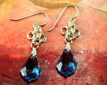 Earrings Sterling Silver Baroque Aquamarine Swarovski