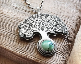Oak tree necklace sterling silver and turquoise, Tree of life necklace, wife gift for her, mans necklace, nature jewelry, tree pendant
