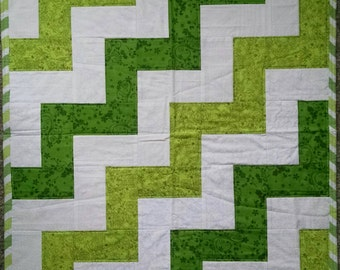 Green and White Chevron Baby Quilt