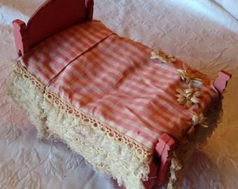 Vintage Folk Art Cigar Box Doll Bed
