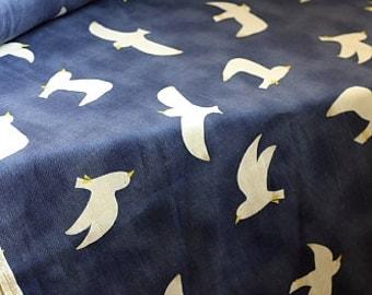 Japanese Kawaii Cotton Linen Blended Fabric - Birds - Half Yard