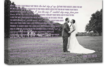 Gift For Holiday Wedding Gift First Dance Lyrics/ Custom Canvas / Wedding Photo with / Vows/ Custom Canvas/ Personalized Couple Gift