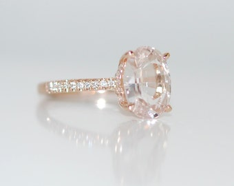 Blake Lively ring White Sapphire Engagement Ring oval cut 14k rose gold diamond ring 2.1ct White sapphire ring