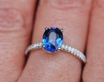 Cornflower blue sapphire ring diamond ring 14k white gold oval engagement ring