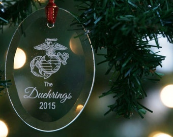 Personalized US Marine Corps Eagle Globe and Anchor Engraved Glass Christmas Ornament, Holiday Keepsake Ornament by Hummingbird Hill