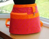 Handmade Vendor Apron  Utility Craft Farmers Market Hot Pink Bright Orange Teacher Apron