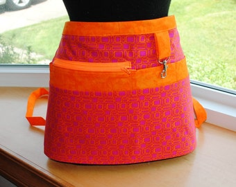 Handmade Vendor Apron  Utility Craft Farmers Market Hot Pink Bright Orange Teacher Apron