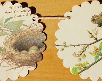 Birds and Flowers Paper Bunting x 10 Circles Garland - upcycled - wedding - party - home decor