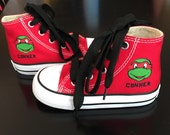 Ninja Turtle Shoes Personalized Custom  High Top  Converse  - Infant and Kids