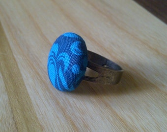 Fabric Covered Button Adjustable Ring