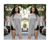 SALE 20% BABOOSHKA Black White Stripe Long Sleeve Vent-Tee Mini Dress T-Shirt