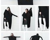 SALE 20% Kat Von D wears BABOOSHKA Banded Arch Caftan Midi Maxi Dress - Black on Black - Long Sleeve Minimal Oversized Tunic Katvond look #k