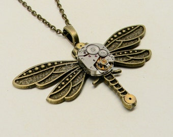 Large steampunk dragonfly necklace pendant.Steampunk jewelry.