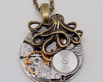 Steampunk jewelry large octopus necklace pendant.