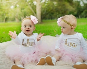 Twin First Birthday Outfits, First Birthday Outfit, First Birthday Tutu Set, Twin Girls First Birthday Outfits, SEWN Tutu, 1st Birthday Tutu