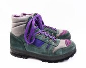 80's vintage Hi-Tec men's hiking boots // retro purple and green // color block leather // made in Italy // size 10