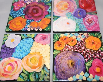 Bright Flowers Hand Painted Coasters - Set of 4