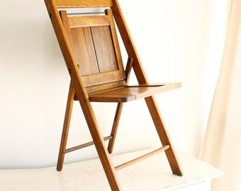 Vintage wood folding chair - The Standard Mfg Co - wood slats - all solid hardwood