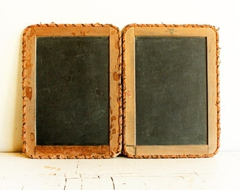 Antique double chalkboard - cloth hinges - slate - school - folding chalk tablet - fabric frame - double sided - small school chalkboard