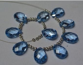 55% OFF SALE 10 Pcs AAA Sky Blue Corundum Quartz Faceted Pear Briolettes Size 13x9mm approx 5 Matched pair