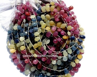 55% OFF SALE 15 Inches Natural Multi Sapphire Faceted Pear Briolette Size 8x6mm - 10x6mm approx Precious Stone Beads