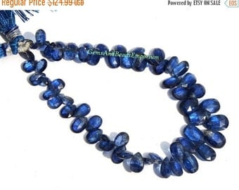 55% OFF SALE 1/2 Strand - Rare Finest Quality Natural Deep Inky Blue Kyanite Faceted Pear Briolettes Size 6x4 - 10x6mm - Gemstone Briolette