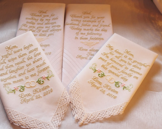 Four Custom IVORY or White Personalized Wedding Handkerchiefs Parent Gifts