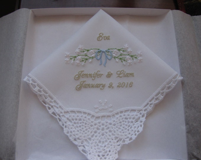 Sweet Flower girl gift personalized wedding hankie with baby's breath, flower girl handkerchief, embroidered wedding handkerchief
