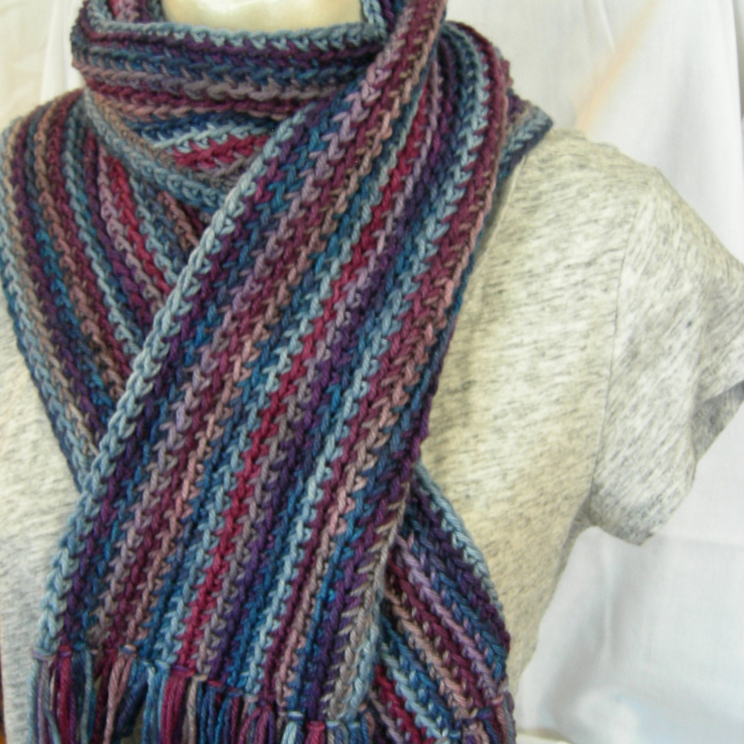 cool stripes blend crochet scarf