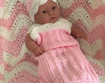 Baby Crochet Gift Set | Snuggle, Swaddle, Cuddle, Cocoon Sack | Infant Hat | Infant Booties | Newborn Gift Set | Photo Prop | Baby Pink