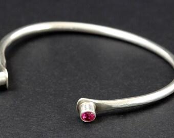 Sterling Silver Bangle, Silver Cuff Bracelet, Silver Bangle, Lab Grown Ruby Bracelet, Cuff Bracelet, Silver Bracelet, Bangle Bracelet, Ruby
