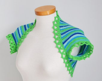 Crochet shrug, green and blue, P464