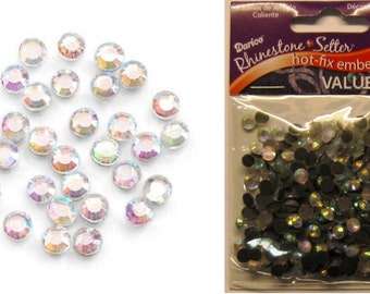 Hot Fix Glass Stones - 5mm - 400 pieces per package Multi color Clear or Clear AB fnt