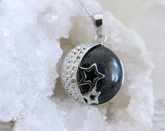 Blue Goldstone Moon and Stars Galaxy Necklace