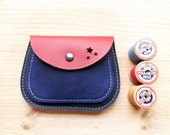 Handmade, Leather clutch Large Purse, MERRY 3053 really red, inky blue, ultramarine