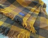 Vintage Pendleton Wool Plaid Throw 1970s Stadium Blanket 60 x 63