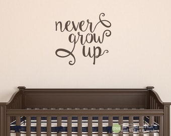Never Grow Up - Vinyl Wall Art - Vinyl Saying Words Decal Stickers - Vinyl Lettering - Boy or Girl - Decor - Nursery or Bedroom Decor 1882