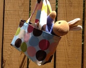 Easter Gift Beatrix Potter Plush Peter Rabbit Pastel and Dots Happy Spring Teeny Tote