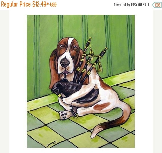 ON SALE Basset Hound Playing the Bagpipes Dog Art Print