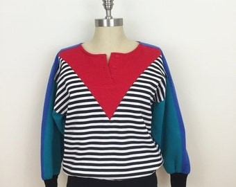25% Off Sale 80s B.I. Gear Sport Color Block Striped Sweatshirt, Size Small to Medium