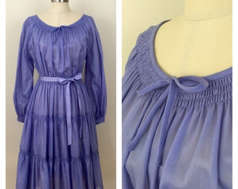 70s Ayres by E. Eysen Lavender Boho Peasant Dress, Size Small, Medium or Large