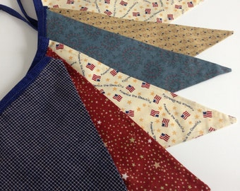 PATRIOTIC FABRIC BANNER-- Stars and Stripes--Americana American-- July 4th Memorial Day Labor Day Banner Flags Bunting